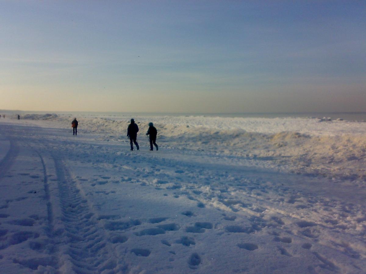 Północne chodzenie po styczniowej plaży w Międzyzdrojach